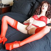 Sissy Erica tranny slut in red lingerie
