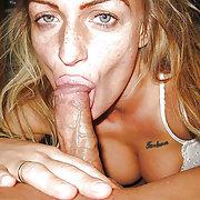 Blonde bitch sucking cock and balls