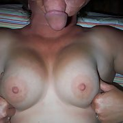 Some of the wife's big titties with cum on them just for dick27
