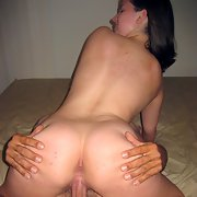 Lovely busty brunette spreads her pussy and fucks
