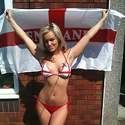 Sexy slag ALEX a working sex posing with our flag she loves football