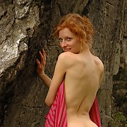 Flame haired wife nude outdoors and giving head