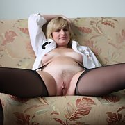 Russian wife Lena show body in black stocking.