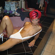 Red head swinger in white bikini self anal finger to tempt and tease