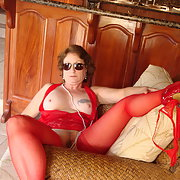 My new red nighty for show and tell while on vacation