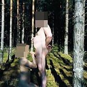 Mature wife public sex outdoors in the woods naked