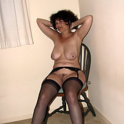 Black Garter and Stockings without Panties is Great