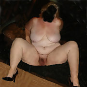Horny Mature Plump Wife with Great Nipples Naked On The Settee