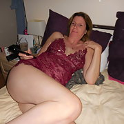 Mature wife's pussy close up In crotch-less