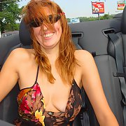 Red head milf on holiday in convertible car no bra or panties
