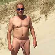 Nude beach with large cock ring