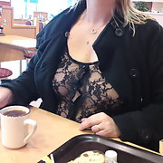 Mature wife loves to show her tits in public