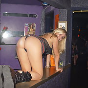 Sexy blonde at swinger club and back at house later