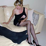 Busty wife and her lover in nylons