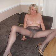 Stunning mature friend loves her stockings true slut