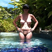 A good friend relaxing in my pool nude nice big pair of juggs
