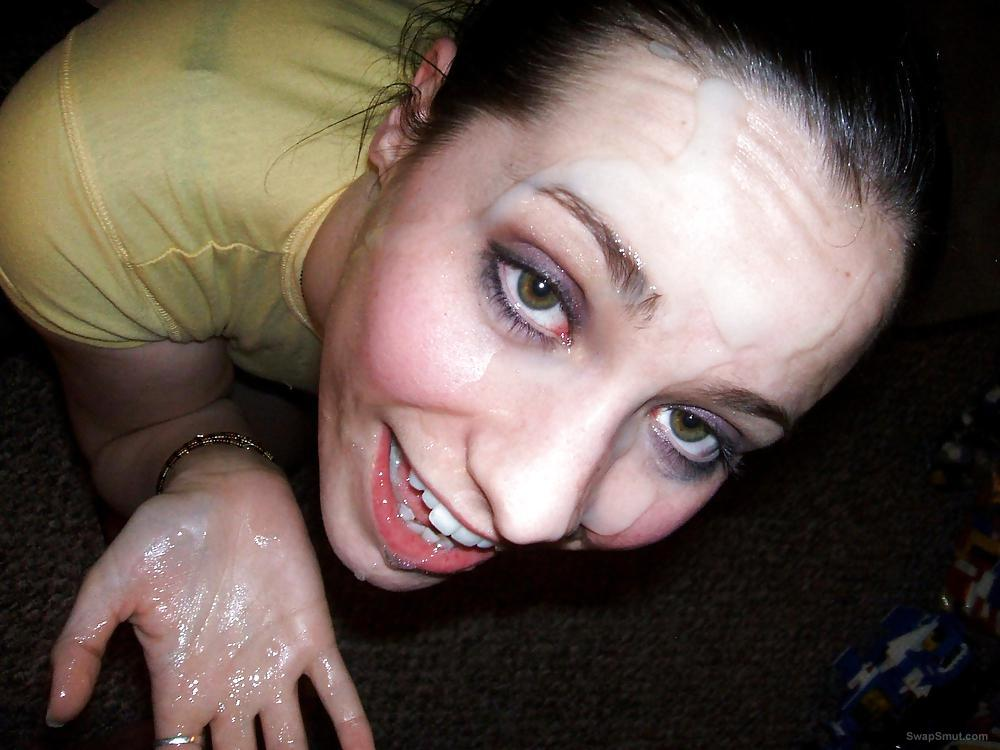 Total whore addicted cum running down her face drenched with jizz