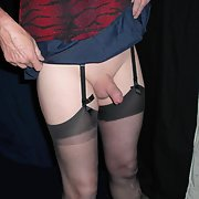 Crossdresser cock stockings insert wet short skirt and stockings
