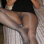 My wife in black nylon pantyhose
