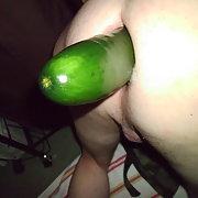 Huge cucumber stretching my ass real good biggest one yet