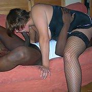 Amateur sucking on a big black cock