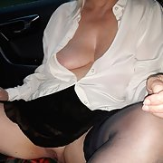 Tits out in public in car, love it
