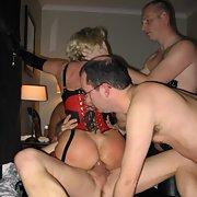 Kinky wife PVC bondage group sex