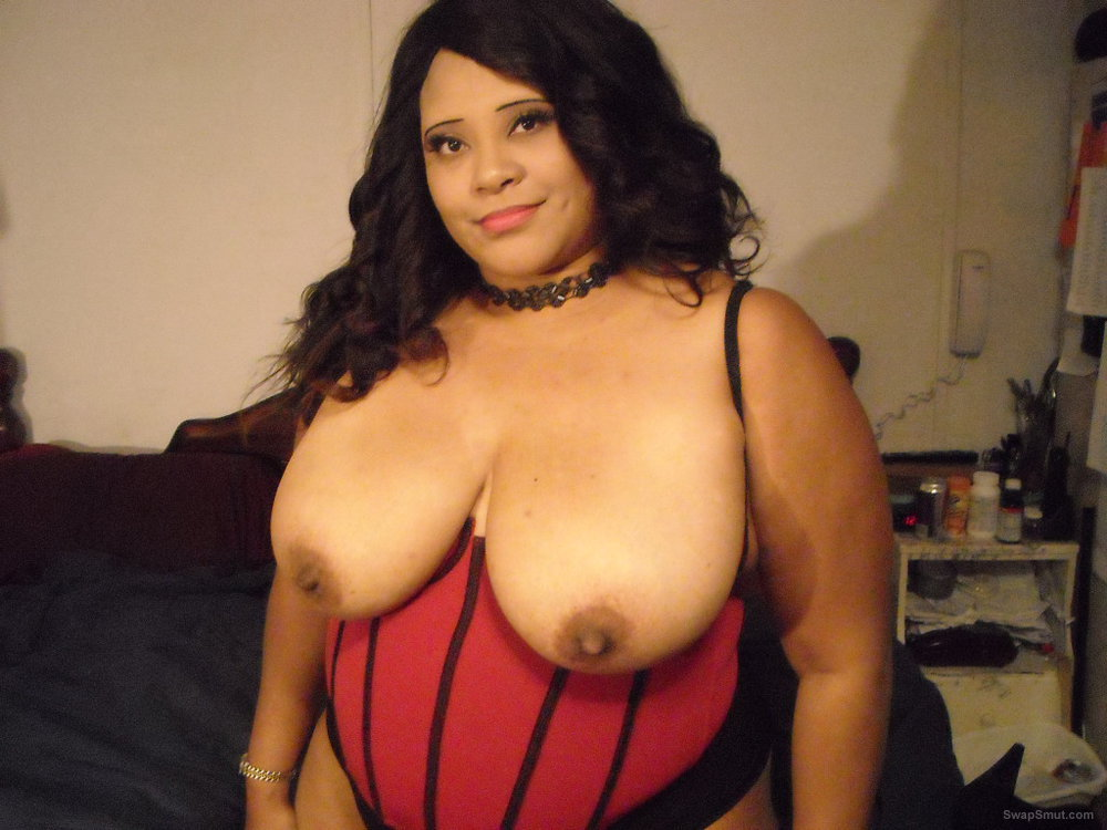 Ebony BBW Wife With Big Tits Sexy Black Red Lingerie