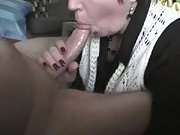 Blowie from the Wife on the Couch Big Load down Her Throat