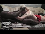 Blonde MILF awesome interracial blowjob long black penis