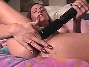 Dirty slut cumming with her big powerful vibrator
