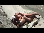 Mature amateurs filmed having wild sex in public