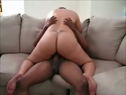 White trailer trash mom with tramp stamp riding her black stud lover