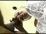 Blond mature blowjob