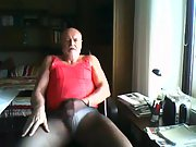 Masturbating tranny at home wanking and wearing wifes pantyhose