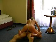 Fucking my wife in the morning on hotel room floor