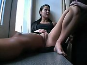 Hottie takes a hard dick in her pussy while sitting on the window