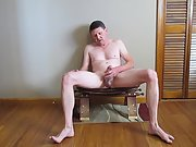 Jerking off while sitting on a stool