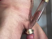 Handsfree jerking with a vacuum cleaner trying hard not to cum