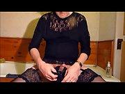 Crossdresser panty wank with big heavy cumming finale