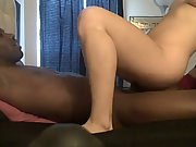 Horny blonde sucks and rides her BBC amateur interracial