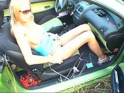 Blonde amateur public dogging car sex out in the countryside