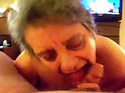 mature slut sucks cock