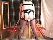 Self Riding on a big homemade dildo while wearing stockings
