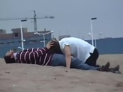 Nasty wife sucking hubby and swallowing cum at the beach