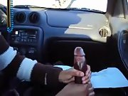 Another slutty friend playing with his big cock in the car