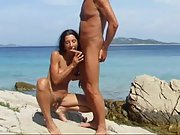Nudist couple blowjob by the med
