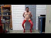 Slut training stockings heels ball weights dog collar jerkoff