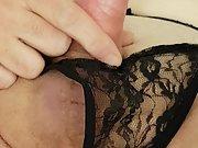 German Crossdresser in black String masturbation