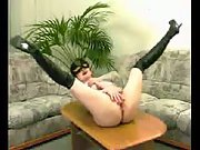 Jen Masturbating on the coffee table and the couch, then loudly orgasming